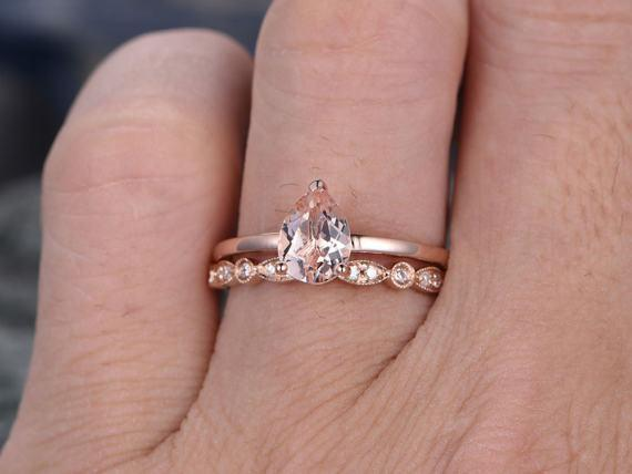 Solitaire 1.50 Carat Pear Cut Solitaire Morganite and Diamond Art Deco Bridal Ring Set in Rose Gold