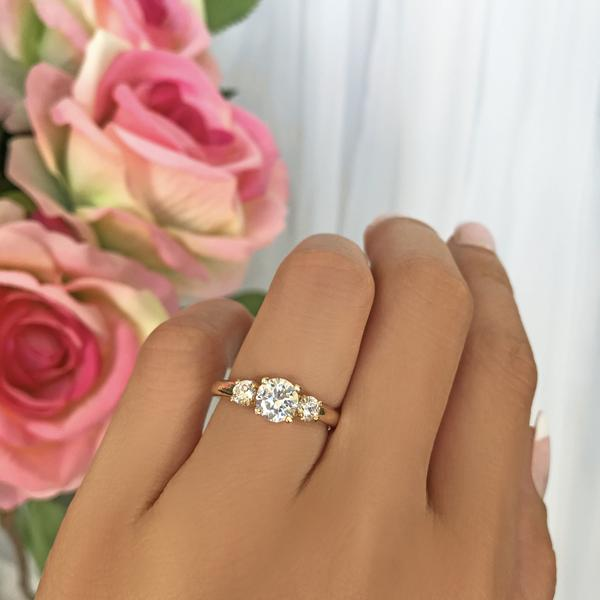 1.5 Carat Three Round Cut Stones Enagement Ring in Yellow Gold over Sterling Silver