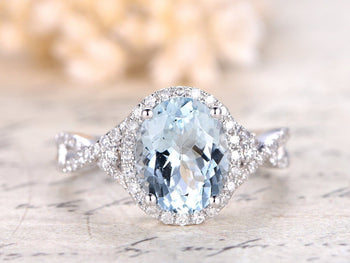 1.5 Carat Infinity Oval Cut Aquamarine and Diamond Engagement Ring in White Gold