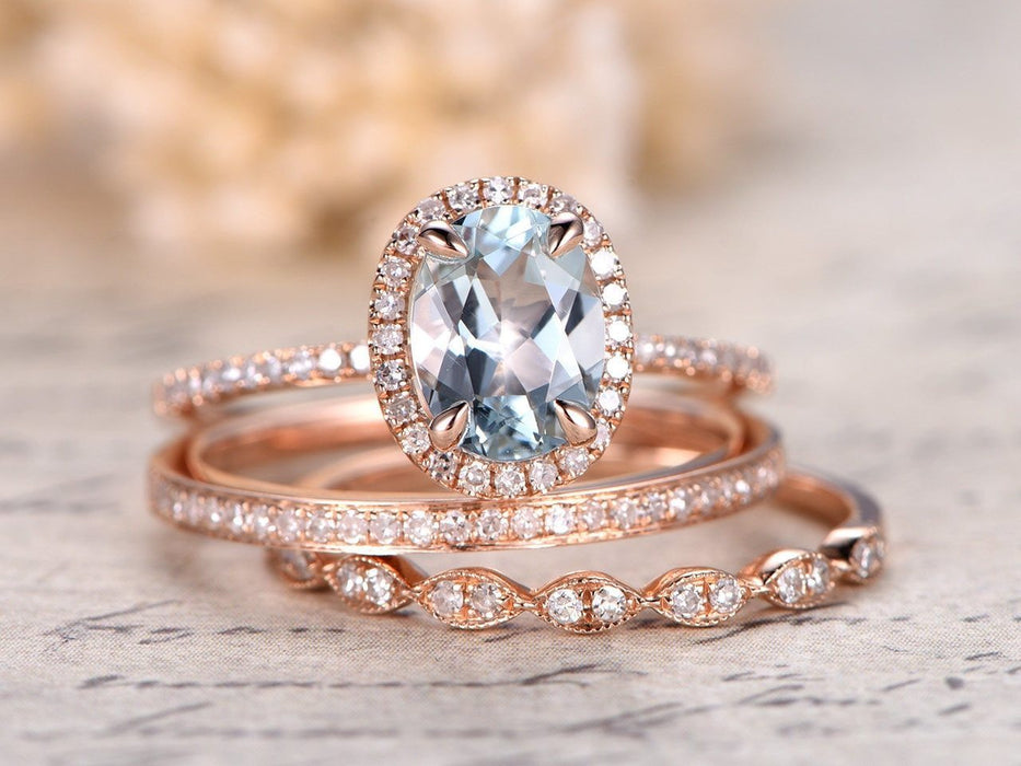 2 Carat Oval Cut Aquamarine and Diamond Halo Trio Wedding Ring Set in Rose Gold