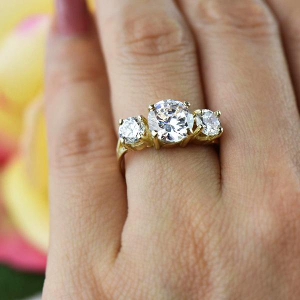 3 Carat Three Stone Round Cut Engagement Ring in Yellow Gold over Sterling Silver