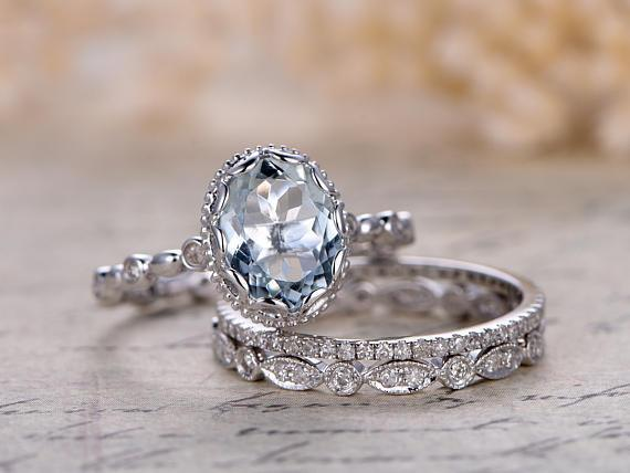 2 Carat Oval Cut Aquamarine and Diamond Halo Trio Wedding Ring Set in White Gold
