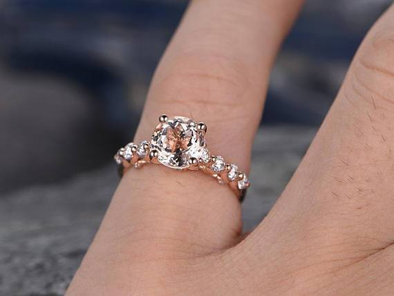 1.50 Carat 9 Stone Round Cut Morganite and Diamond Engagement Ring in Rose Gold