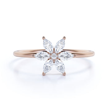 Elegant Flower Shaped Diamonds Mini Stacking Ring  in Rose Gold
