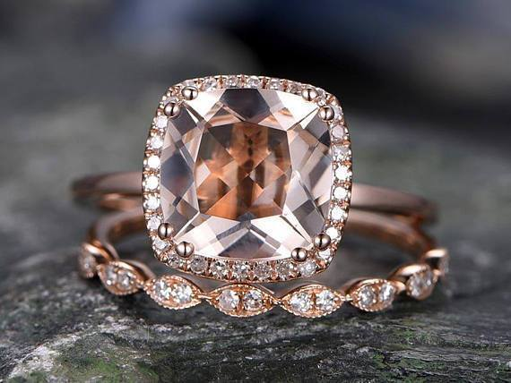Huge 3 Carat Cushion Cut Morganite and Diamond Art Deco Wedding Ring Set in Rose Gold