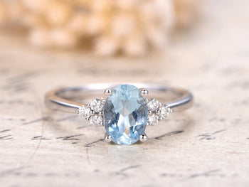 7 Stone 1.25 Carat Aquamarine and Diamond Engagement Ring in White Gold