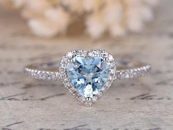 Perfect 1.5 Carat Heart Shaped Aquamarine and Diamond Halo Engagement Ring in White Gold
