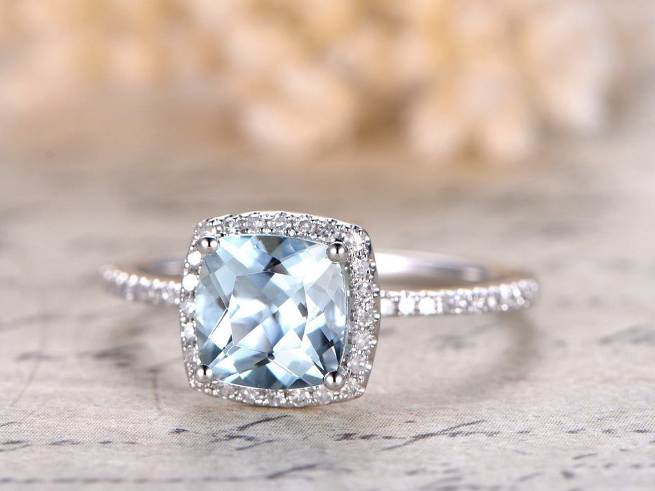 1.25 Carat Princess Cut Aquamarine and Diamond Halo Engagement Ring White Gold