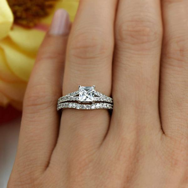 ded00724a14 1.5 Carat Princess Cut Split Shank Wedding Ring Set in White Gold over  Sterling Silver