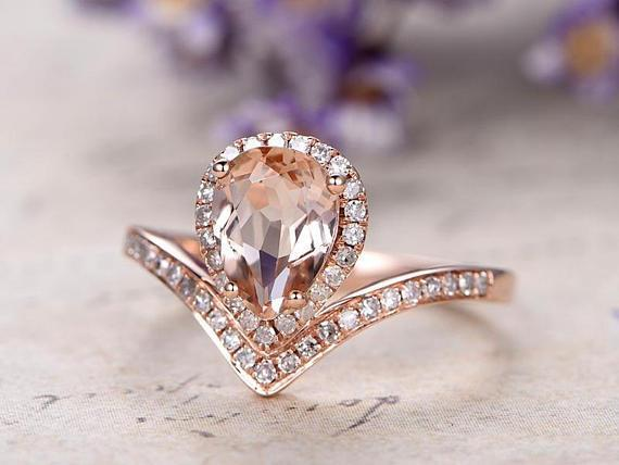 Pear Cut Unique Morganite and Diamond Engagement Ring in Rose Gold