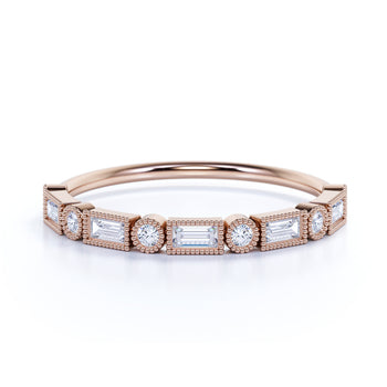 Milgrain Set Diamond Stacking Wedding Ring in Rose Gold