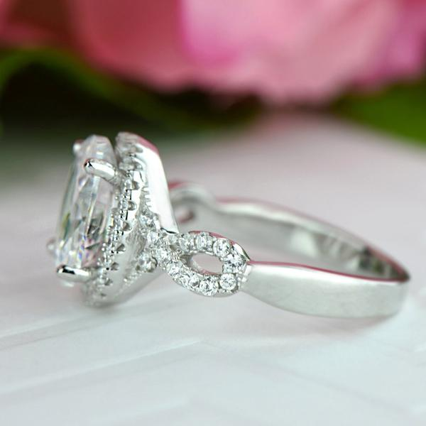 3.5 Carat Oval Cut Twisted Halo Engagement Ring in White Gold over Sterling Silver