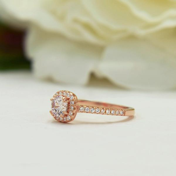 1 Carat Round Cut Classic Square Halo Engagement Ring in Rose Gold over Sterlinf Silver