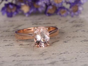 Solitaire 1 Carat Oval Cut Morganite Engagement Ring in Rose Gold