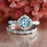 Bestselling 2 Carat Antique Design Round cut Aquamarine and Diamond Wedding Ring Set in White Gold