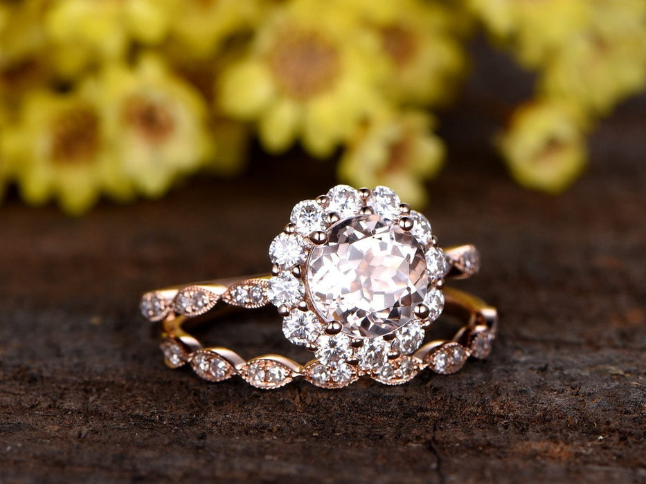 Art Deco Antique 1.50 Carat Morganite and Diamond Wedding Ring Set in Rose Gold
