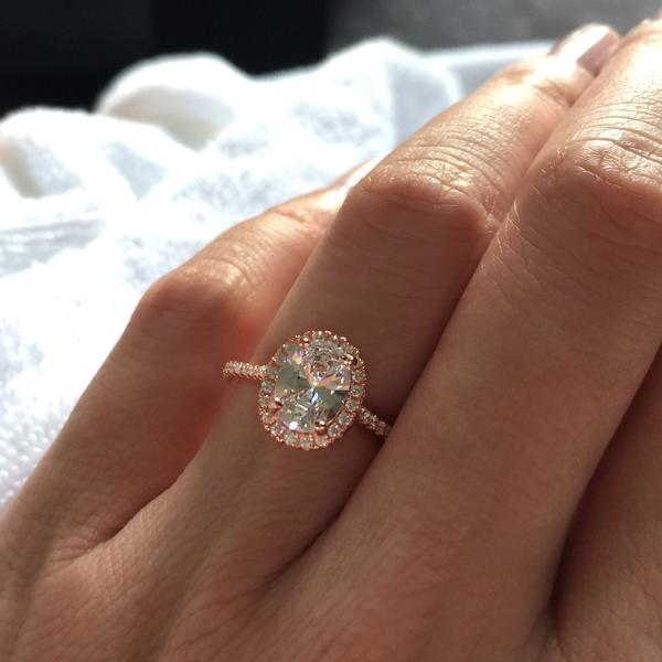 1.5 Carat Oval Cut Halo Engagemenrt Ring in Rose Gold over Sterling Silver
