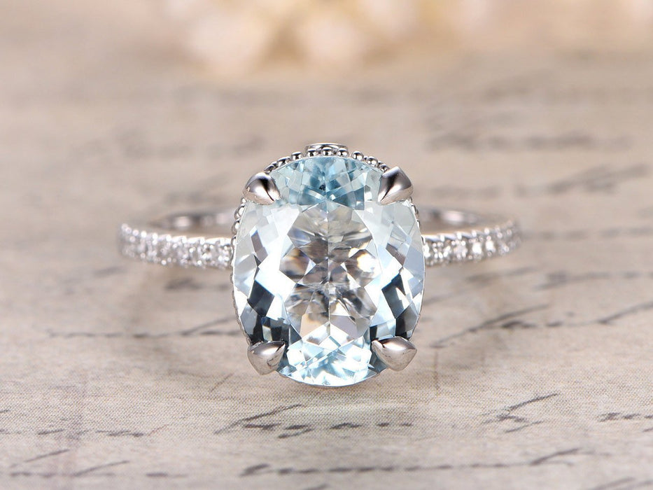 2 Carat Huge Oval Cut Aquamarine and Diamond antique Engagement Ring in White Gold