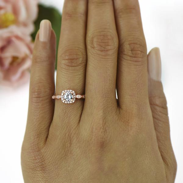1 Carat Round Cut Halo Art Deco Engagement Ring in Rose Gold over Sterling Silver