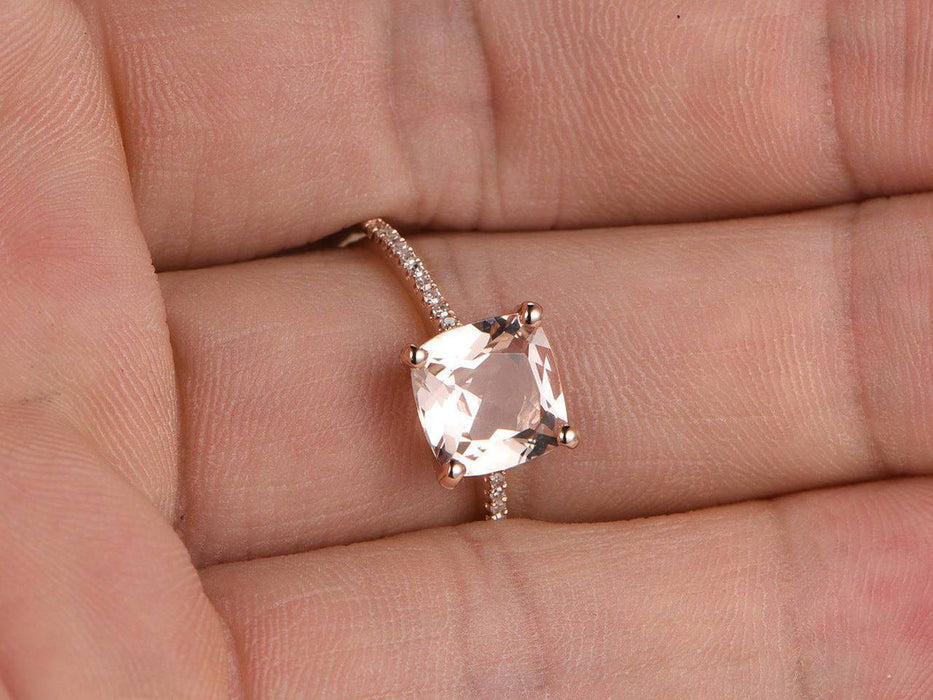 1.25 Carat Cushion Cut Morganite and Diamond Engagement Ring in Rose Gold
