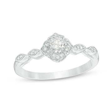 0.25 Carat Round Cut Diamond Fleur de La Vie Engagement Ring in White Gold