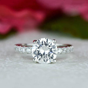 Final Sale: 2.25 Carat Round Cut Wide Accented Engagement Ring in White Gold over Sterling Silver
