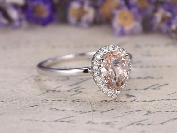 1.25 Carat Solitaire Pear Cut Morganite and Diamond Engagement Ring in White Gold