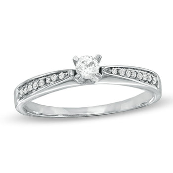 Splendid 1/3 Carat Round Cut Diamond Engagement Ring in White Gold