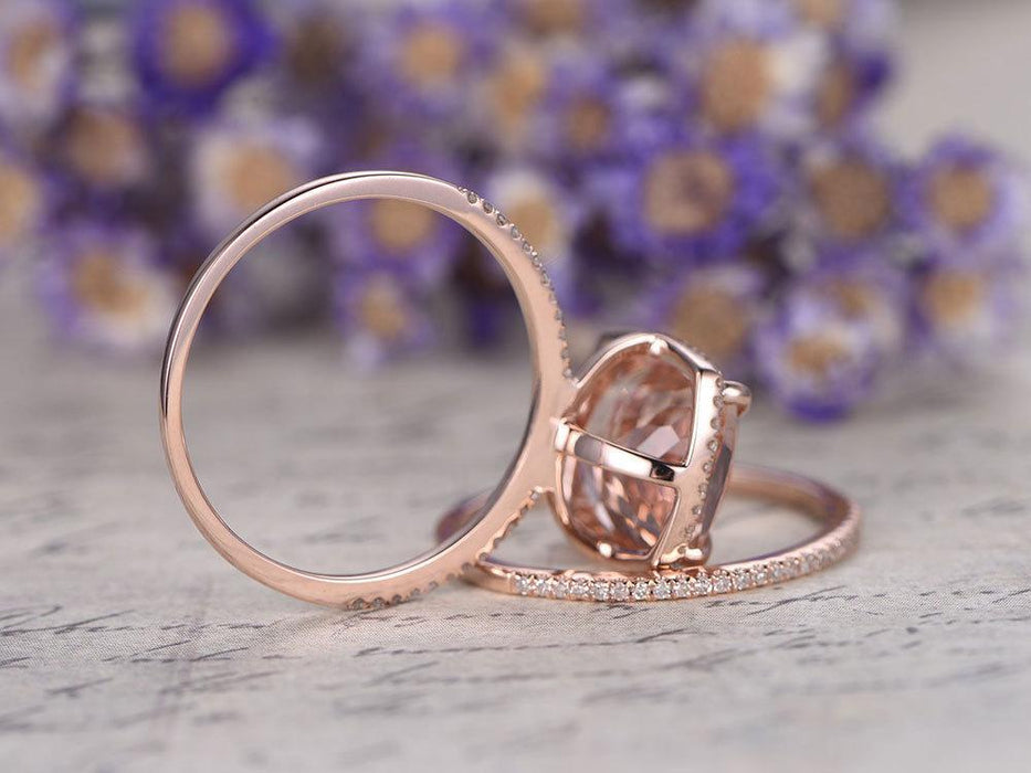 2 Carat Emerald Cut Morganite and Diamond Wedding Set in Rose Gold