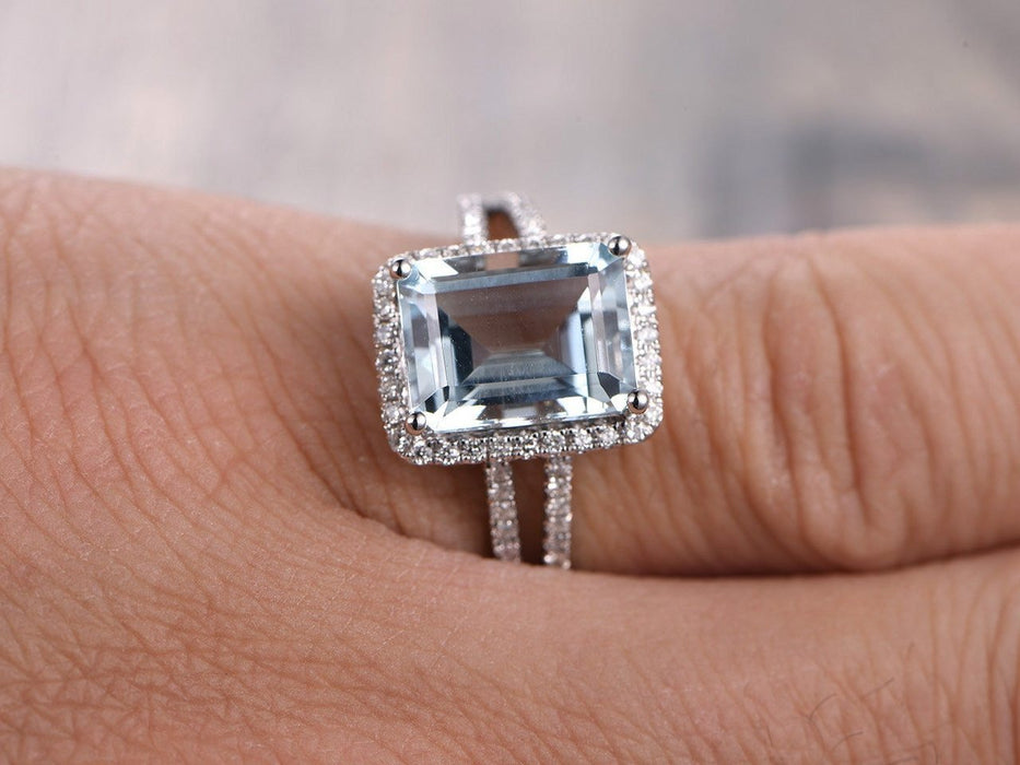 2.50 Carat Huge Emerald Cut Aquamarine and Diamond Halo Split Shank Engagement Ring in White Gold