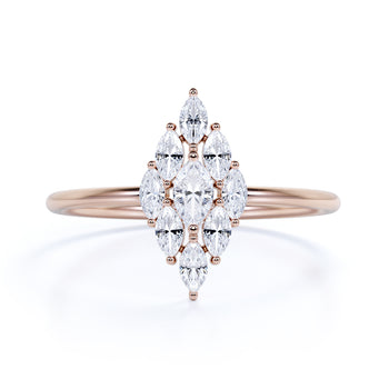 Elegant Diamond Stacking Wedding Ring with Marquise Cut Diamonds in Rose Gold