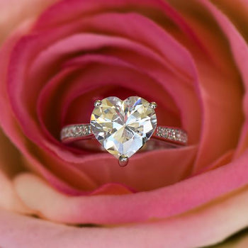 4 Carat Heart Cut Accented Engagement Ring in White Gold over Sterling Silver