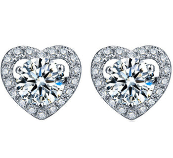 Heart Shape 2.25 Carat Round Cut Moissanite and Diamond Stud Earrings in White Gold