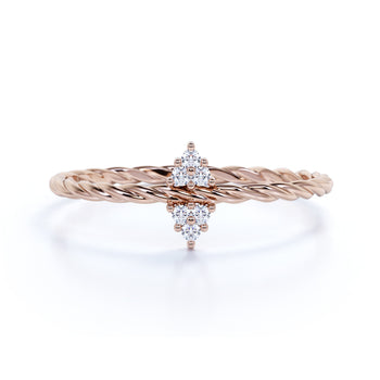 6 Stone Diamond Cluster Stacking Ring in Rose Gold