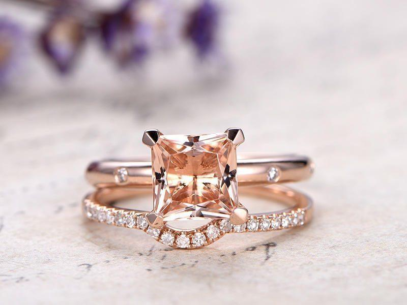 1.25 Carat Princess Cut Morganite and Diamond Bridal Ring Set in Rose Gold