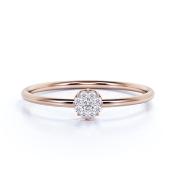 Charming Diamond Stackable Ring with Round Cut Diamonds in Rose Gold