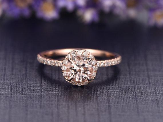 Delicate 1.25 Carat Morganite and Diamond Engagement Ring in Rose Gold