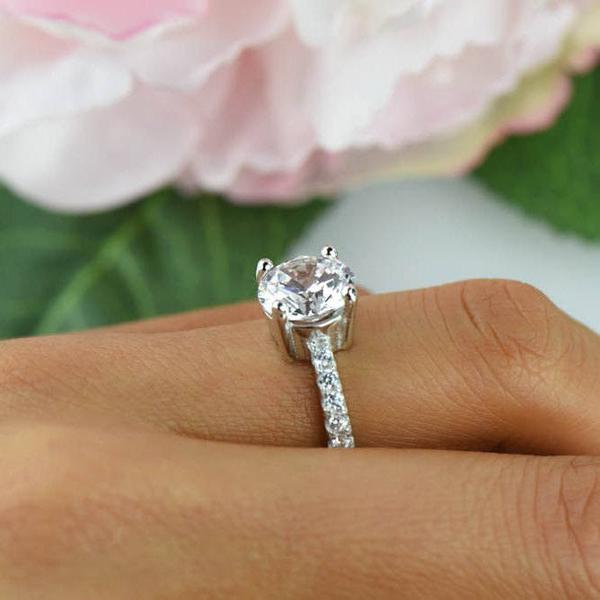 Final Sale: 3.25 Carat Round Cut Wide Accented Engagement Ring in White Gold over Sterling Silver