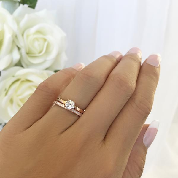 0.5 Carat Round Cut Solitaire Engagement Ring and Classic Band Set in Rose Gold over Sterling Silver