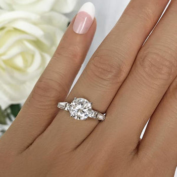 Final Sale: 2.5  Round Cut Baguette Solitaire Engagement Ring in White Gold over Sterling Silver