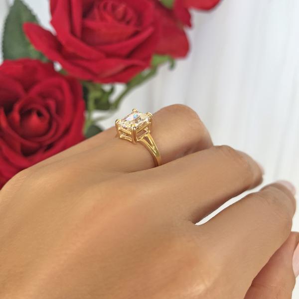 Radiant 3 Carat Emerald Cut Solitaire Engagement Ring in Yellow Gold over Sterling Silver