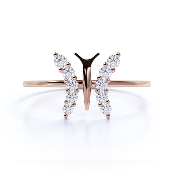 Delicate Diamond Butterfly Stacking Ring in Rose Gold