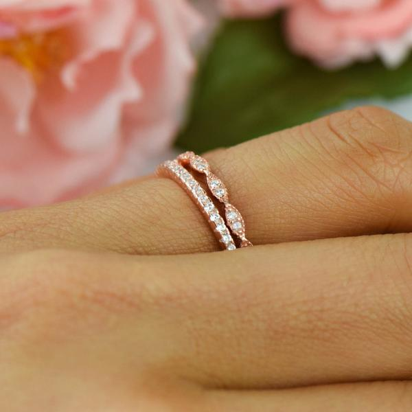 0.5 Carat Art Deco Half Eternity Wedding Band Set in White Rose over Sterling Silver