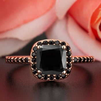 Modern 1.25 Carat Cushion Cut Black Diamond and Diamond Engagement Ring in Rose Gold