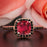 Modern 1.25 Carat Cushion Cut Ruby and Diamond Engagement Ring in 9k Rose Gold