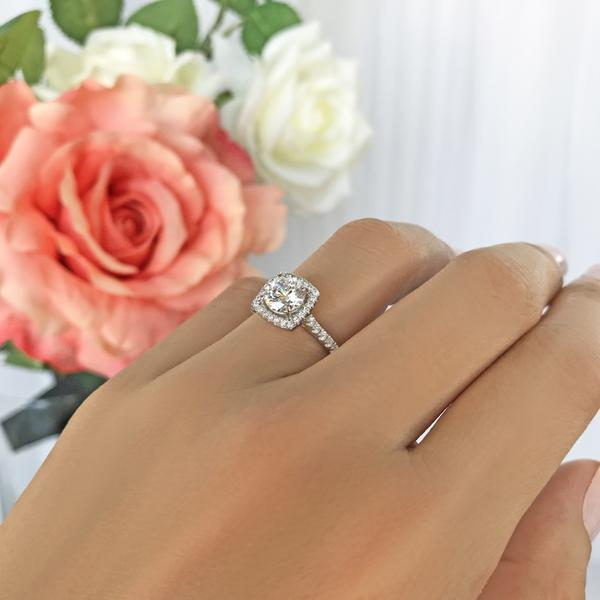 1.5 Carat Round Cut Square Halo Engagement Ring in White Gold over Sterling Silver