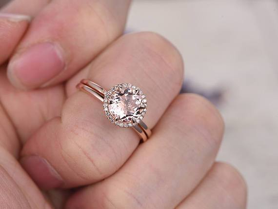 Delicate 1.25 Carat Round Cut Morganite and Diamond Bridal Set with Plain Wedding Band in Rose Gold