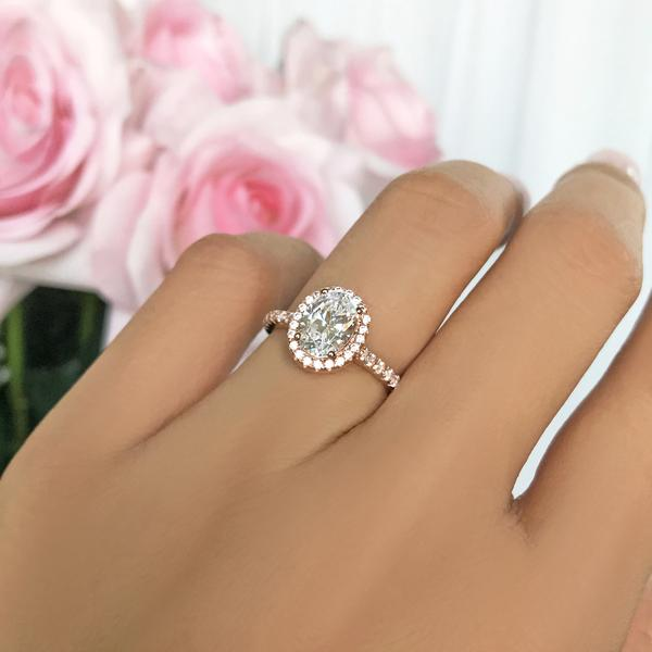 1.5 Carat Oval Cut Halo Engagement Ring in White Gold over Sterling Silver