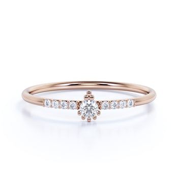 9 Stone Round Shaped Diamond Stacking  Ring in Rose Gold