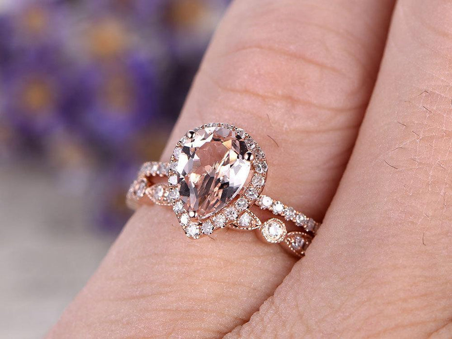 Pear Cut 1.50 Carat Morganite and Diamond Wedding Set with Art Deco Band in Rose Gold